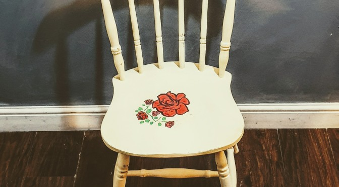 Tattoo Style Roses Farmhouse Chair