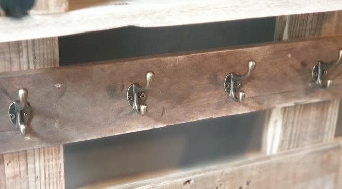 Reclaimed Wooden Coat Racks with Salvaged Vintage School Pegs