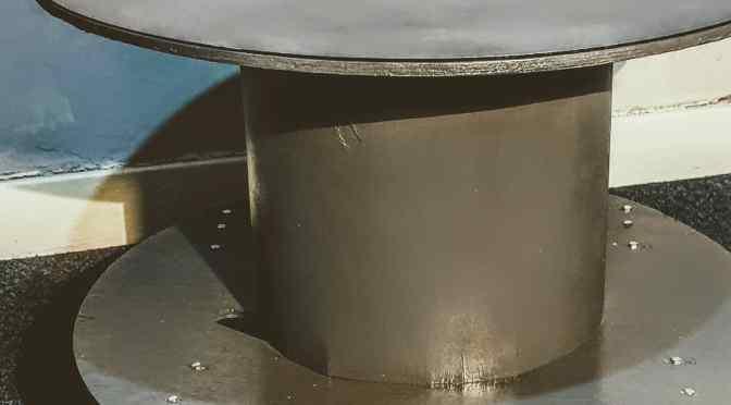 Repurposed Industrial Cable Reel Coffee Table with Steel Hairpin Legs and Custom Cut Steel Tabletop
