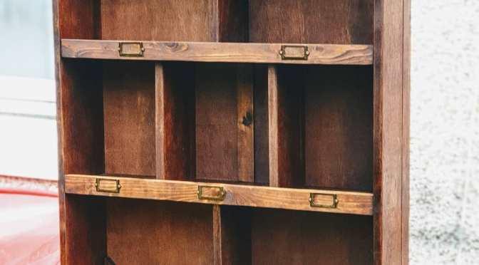 Large Reclaimed Mahogany Pigeon Hole Shelving Unit