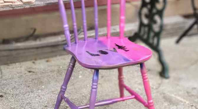 Upcycled Neon Punk Street Art Chair
